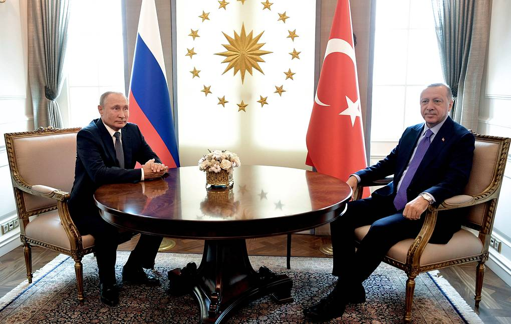 Russian President Vladimir Putin and Turkish President Recep Tayyip Erdogan Alexei Nikolsky/Russian Presidential Press and Information Office/TASS