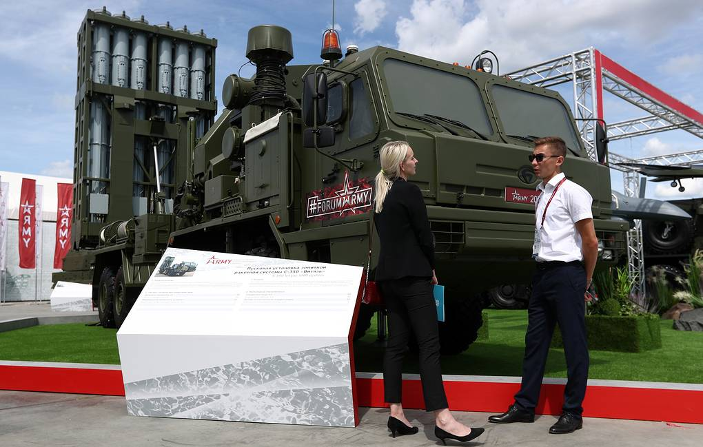 An S-350 'Vityaz' surface-to-air missile launcher on display during the Army 2019 International Military Technical Forum Stanislav Krasilnikov/TASS
