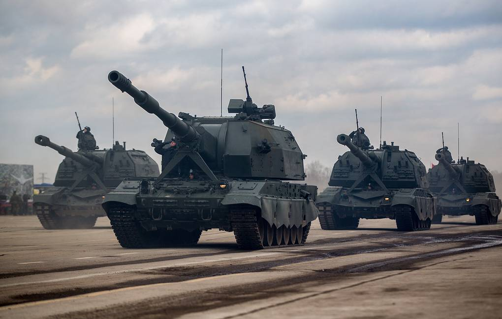 Koalitsiya-SV self-propelled howitzers Sergei Bobylev/Russian Defense Ministry Press Office/TASS