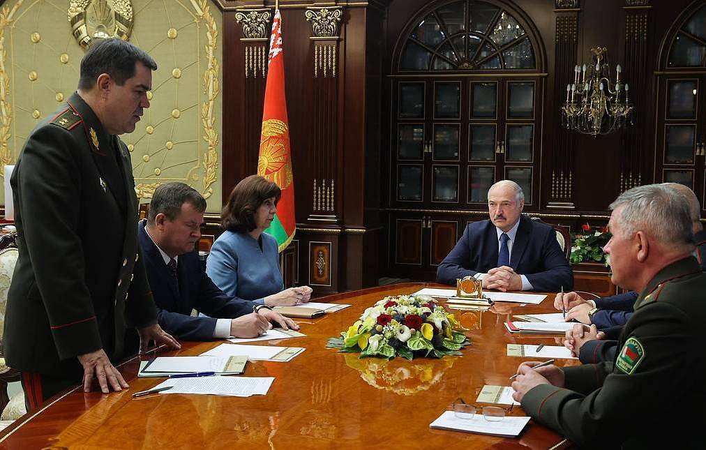President of Belarus Alexander Lukashenko, center, holds a meeting with the members of the Security Council Nikolai Petrov/BelTA/TASS