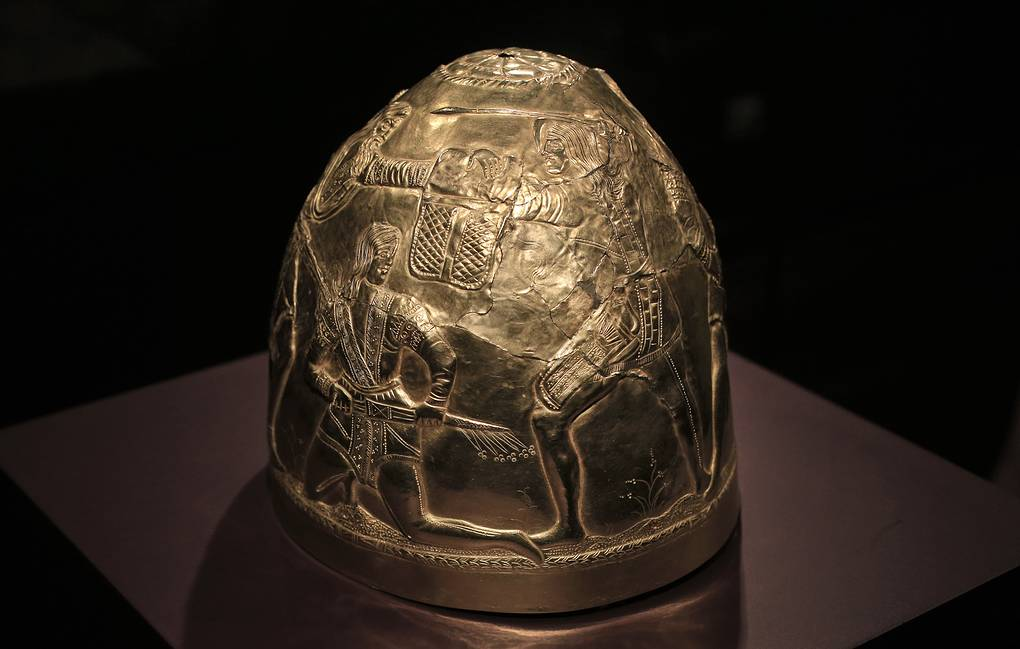 Scythian gold helmet displayed as part of the exhibit called The Crimea - Gold and Secrets of the Black Sea, at Allard Pierson historical museum in Amsterdam AP Photo/Peter Dejong, file