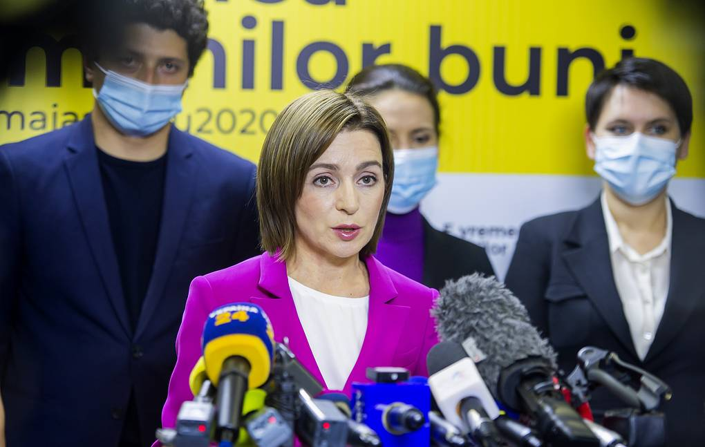 Maia Sandu speaking to media in Chisinau EPA-EFE/STRINGER