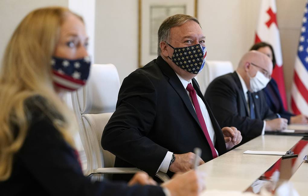 US Secretary of State Mike Pompeo is seen during meeting with Georgia's Prime Minister Giorgi Gakharia and Georgia's Foreign Minister David Zalkaliani in Tbilisi AP Photo/Patrick Semansky, Pool