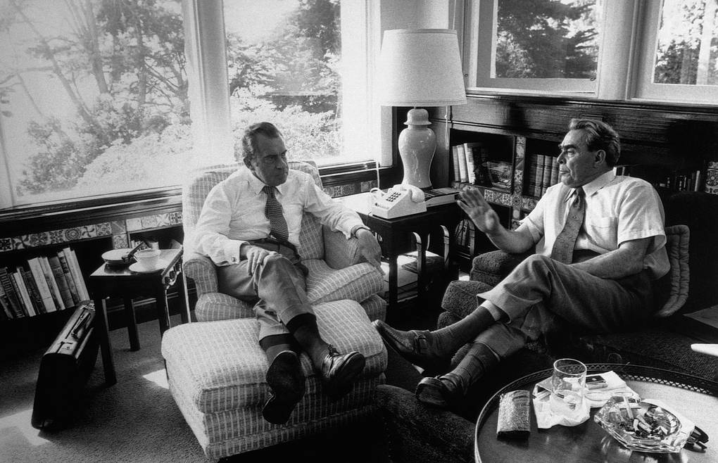 Richard Nixon meets with Premier Brezhnev in the library of the Nixon home at San Clemente, California CORBIS/Corbis via Getty Images