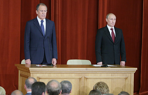 Russia's Foreign Minister Sergei Lavrov and Russia's President Vladimir Putin