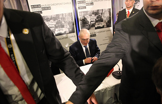 Mikhail Khodorkovsky during his press conference in Germany