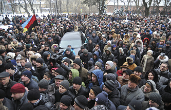 Protesters broke into the building of the regional governor's office in Lviv, Western Ukraine