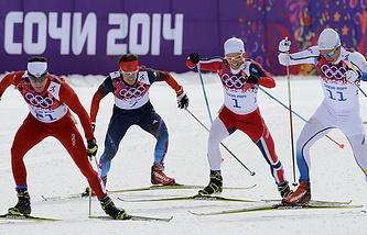(L-R) Dario Cologna of Switzerland, Maxim Vylegzhanin of Russia, Johnsrud Martin Sundby of Norway and Marcus Heller of Sweden