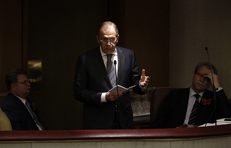 Sergei Lavrov speaks in the State Duma