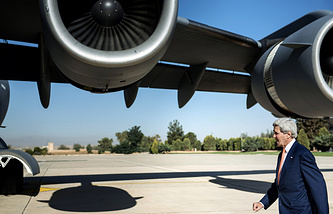 US Secretary of State John Kerry on his way to Iraq on June 23