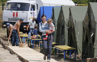 Refugee camp in Russia's Rostov Region