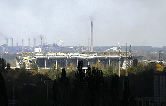 Damaged terminal of the International airport in Donetsk