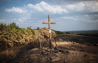 A cross seen in eastern Ukraine (archive)