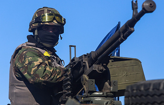 A Ukrainian soldier seen near Donetsk
