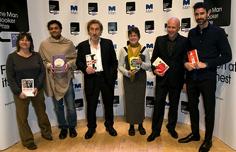 "Booker prize ""shortlist"" authors (left to right): Аli Smith, Neel Mukherjee, Howard Jacobson, Karen Joy Fowler, Richard Flanagan, Joshua Ferris"