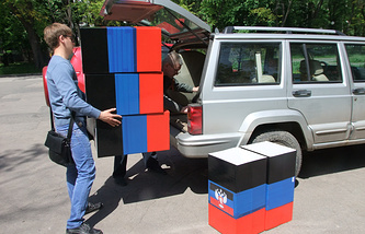 Preparations for referendum voting in Donetsk in May, 2014
