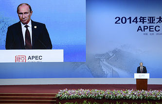 Russia's President Vladimir Putin speaks at the APEC CEO Summit in Beijing