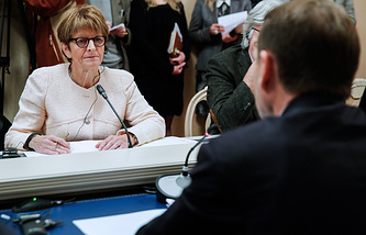 PACE President Anne Brasseur at a meeting with  Russia's lower house speaker Sergey Naryshkin