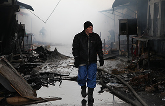 Damaged shopping pavilions outside the Press House attacked by terrorists in Grozny