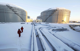 Pipelines and oil storage tanks of China and Russia crude oil pipeline in Mohe, northeast China's Heilongjiang Province