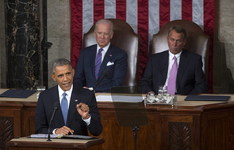 US President Barack Obama delivering his State of the Union address before a joint session of Congress