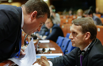 Russian PACE delegation members Leonid Slutsky and Sergey Naryshkin