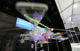Stand of the Russia's KRET radio-electronic corporation at Farnborough International Airshow