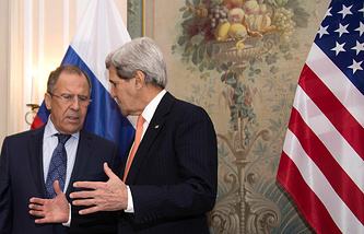 Russian Foreign Minister Sergey Lavrov and US Secretary of State John Kerry during a bilateral meeting at the 51st Munich Security Conference