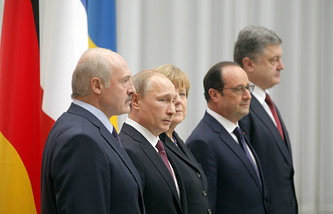 Leaders of Belarus, Russia, Germany, France and Ukraine in Minsk