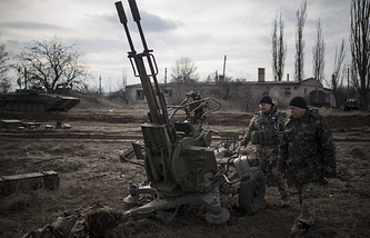 Ukrainian soldiers in eastern Ukraine