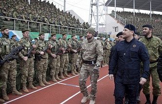 Chechen leader Ramzan Kadyrov after addressing the people of Chechnya and Russia in December 2014 (archive)