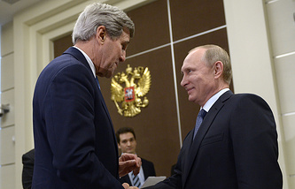 US Secretary of State John Kerry and President Vladimir Putin