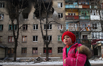 A girl seen in the streets of east Ukraine's Donetsk