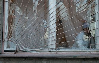 A broken hospital window in Donetsk (archive)