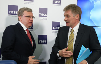 Russia's ex-finance minister Alexey Kudrin and Vladimir Putin's press secretary Dmitry Peskov