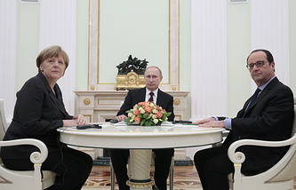 German chancellor Angela Merkel, Russian President Vladimir Putin and French President Francois Hollande