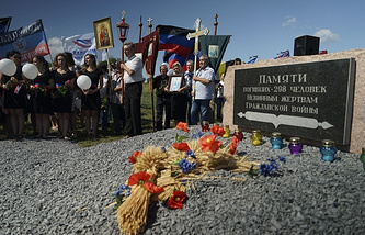 Memorial at MH17 crash site
