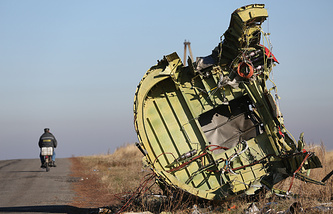 The wreckage of the Malaysia Airlines Flight MH17 in Ukraine