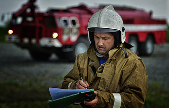 Russian rescuer during drills