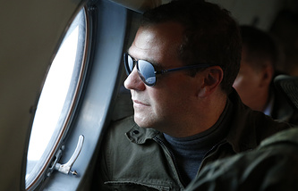 Russian Prime Minister Dmitry Medvedev visiting Iturup Island, one of the Kuril Islands