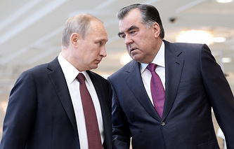 Presidents of Russia and Tajikistan Vladimir Putin and Emomali Rakhmon