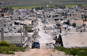 An area destroyed during the battle between Kurdish forces and the Islamic State fighters in Kobani, north Syria