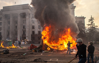 House of Trade Unions in Odessa set on fire, May 2014