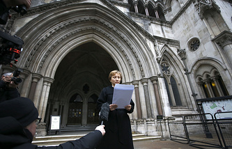 Marina Litvinenko, widow of former Russian spy Alexander Litvinenko, outside the Royal Courts of Justice in London