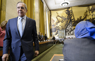 Russian Foreign Minister Sergei Lavrov at a high-level segment of the Disarmament Conference, UN, in Geneva
