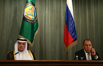 Russian Foreign Minister Sergey Lavrov and Saudi Arabia's Foreign Minister Adel al-Jubeir