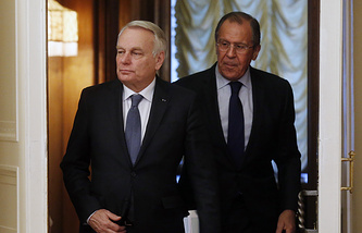 Russian Foreign Minister Sergey Lavrov and his French counterpart Jean-Marc Ayrault
