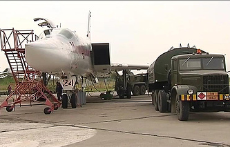 A Russian Tu-22M3 bomber in Syria