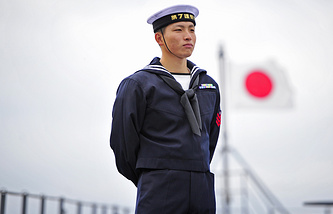 A crewman aboard a Japanese ship in Russia's Vladivostok