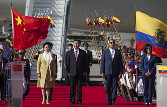China's President Xi Jinping and his wife in Ecuador before heading to Peru for the APEC summit